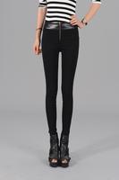 New 2014 Autumn Fashion Faux Leather Patchwork Women Skinny Pants Black Sexy Cotton+Ployester Pencil Pants S-XXL Euro style