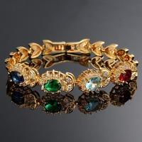 Hot Sales Vintage Luxury Wedding Bracelets Bangles 18K Yellow Gold Plated Bracelet Women Multicolor Austria Crystal Bracelet 493