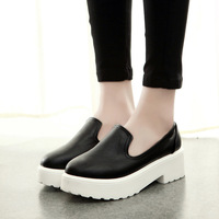 Europe station 2015 new Korean female thick crust muffin shoes with round the slope with white shoes wild