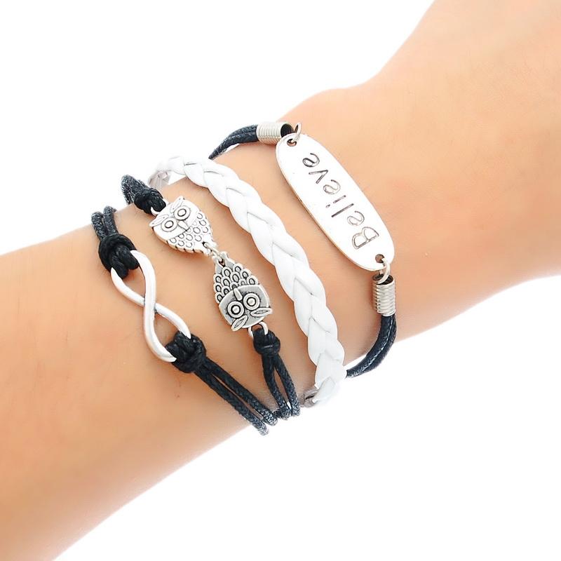 2015 Jewelry 1PC Fashion Handmade Friendship Bracelet Believe Owls Pattern Cord Black White(China (Mainland))