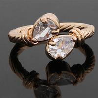 2014 Christmas Gift Wonderful wedding Rings for Men and Women CZ Stone Teardrop Shape Sliver Plated Designer Romantic