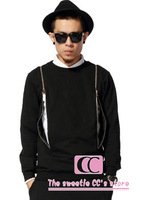 Spring And Autumn Crewneck Two Long Gold Zippers Long-sleeve Sweatshirt / Hip Hop Cotton Men Sweater / Black Grey Pullover S-3XL