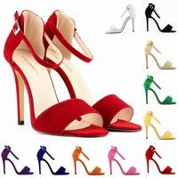 2015new summer women sandal sexy high heel open toe thin flock suede women ankle strap sandalias plus size 35-42