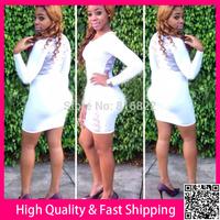 White Women Dress Long Sleeve Winter Dress Sexy Lace Vestidso Bodycon Party Club Dress Bandage Casual Dress Free Shipping