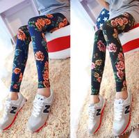 2014 New Fashion  Garden flowers women leggings Camellia printed tenths pants Free Shipping