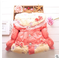 New arrival 2014 girls thick coat kids clothing girl winter cat coats good quality 3 colors