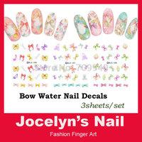 3sheets/set Bows designs Water Transfer Nail Art Decal Stickers Beauty nail tools
