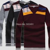 New Mens Long Sleeve T Shirts Fashion 2014 Tops Designer Brand Casual Printed Slim FIt Plaid V-Neck T-shirts Men's T Shirts