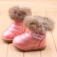 2014 rabbit fur children snow boots warm plush cotton padded girl snow boots waterproof girls shoes winter velcro wing kid botas