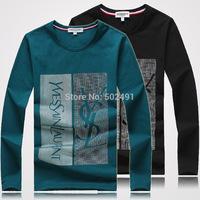 New Mens Long Sleeve T Shirts Fashion 2014 Tops Designer Brand Casual Printed Slim FIt O-Neck T-shirts Men's T Shirts