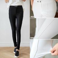 2014 New Fashion European style High Elastic Women Autumn Casual Pencil Pants Black White Skinny  Pants