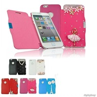 Cute Bling Crystal Magnetic Leather Flip Hard Case Cover For iPhone 6 4.7 inch.