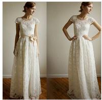 White Lace Wedding Dresses Capped Sleeve Scoop Appliques Natural Waistline A-line Floor-length Simple Zipper Bridal Gowns