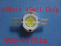 Free Shipping 10W power led 45mil Epistar Chip 990-1170lm 20pcs/lot