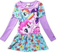 New girls my little pony long sleeve dress kids cartoon printing dress Autumn children's lovely leisure dresses in stock