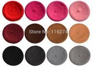 2014 Women Winter Berets Hats Cap female Cap For Girls Ladies Cheap In Stock Red Black Blue