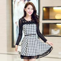 Dropshipping!2014 autumn dress Elegant charming chffion dress Lace stitching chest women dress