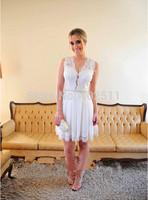 White Short Prom Dresses Lace Sleeveless A-line Skirt Deep V-neck Natural Waistline Zipper Knee-length Short Bridal Gowns