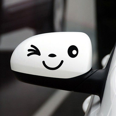 One Pair/ 2pcs Smiling Face Car Body Decor Decals Rearview Mirror Stickers(China (Mainland))