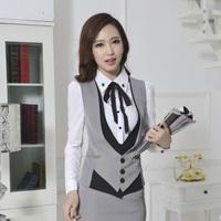 New 2014 Spring Autumn Formal Ladies Gray Vest Women Waistcoat Fashion Office Uniform Styles Free ShippingWork Clohtes