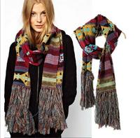 winter scarf for women men, fashion geometry ethnic  warm tassel  pashmina cotton scarves