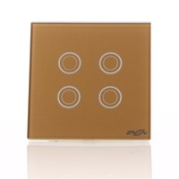 Intelligent wall switch touch switch glass panel 4open single control gold
