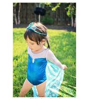 2014 New Arrival Girls Swimming Dress  Frozen Elsa  Dress Cute Girls Blue Color Frozen Swimsuit With Swimming Cap