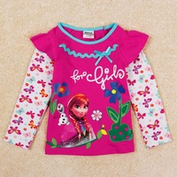 Frozen Girls T shirt Children Cotton Clothes Spring Autumn Brand Kids Clothing for Baby Outerwear Pink Tees Tops Princess Anna