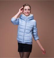 2014 New Arrive Women's Winter Outerwear Slim Hooded Down Jacket Woman Warm Down Coat Women Light White Duck Down HJS144003