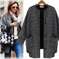 2014 Hat Sale Woolen Coat For Women Outerwear Winter European Grey Overcoat Trench Coat Warm Wool Jacket Free Shipping