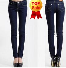 nueva llegada marca 2014 de cintura mediados mujeres pantalones vaqueros rectos lápiz delgado flaco mezclilla pantalones casuales de moda(China (Mainland))