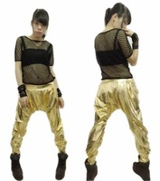 2014 New fashion casual Sport Sweatpants Costumes female wear spliced jazz sports gold  loose Harem Hip Hop Dance Pants