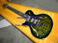 Wholesale - Left Hand Custom Green Burst 3 Pickups Jazz Guitar Flower Fingerboard Hot
