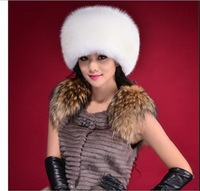 2014 New Arrive Fashion Hot Selling Winter Hats Knitted Real Fox Fur Three Colors Warm Caps Hot Style Wholesales