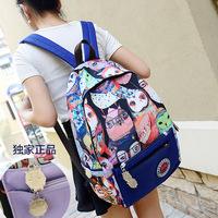 2014 New Women Cartoon OWL Shoulder Bag Backpack Schoolbag Men Canvas Backpacks 3D western style Travel Hiking Bags SJ0217