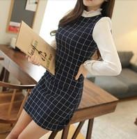 2014 Autumn Winter patchwork women dress, long sleeve Stand collar Plaid casual dress women, S-XL fashion dress, dresses 9240