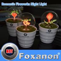Foxanon Brand 220V EU US Pulg Flower Bonsai Led nightlight lamps Romantic Flowers small Led night light Love Rose Fireworks 1pcs