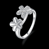 925 Sterling silver Flowers Crystal fashion women Finger Ring ,Wholesale high quality jewelry ring R439