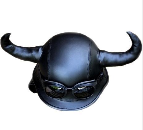 Helmet Devil Horns Horns Leather Helmet
