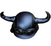 Horns Leather Helmet motorcycle half helmet knight air personality mirror free shipping devil horns helmet