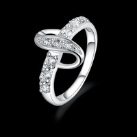 925 Sterling silver Crystal Engagement Ring Finger ,Wholesale high quality jewelry ring R438
