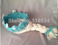 Brand New IN STOCK  High quality Frozen Elsa Princess Crown/Tiara Hair Wig! Children crochet hats