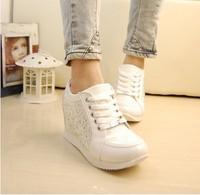 2014 women Hidden Wedge Heels shoes Fashion Women's Elevator ankle boots causal Sneaker Sports Rhinestone  Shoes