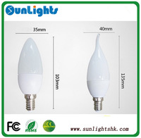 CE Rohs dimmable led candle lights smd 2835, 5630 E27 E14 4w led bulb top quality lamp