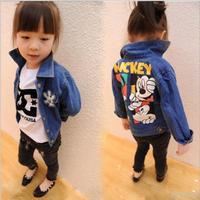 Freeship new 2104 fall children winter outwear boys and girls denim jean kids jacket printing Mickey baby clothing cartoon coat