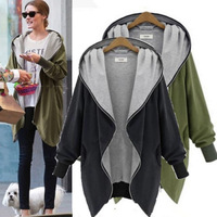 Fashion Casual Hooded Boyfriend Style Women Oversize Zip UP Jacket Long Coat Hoodie Cardigan Blazer