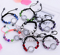 Free Shipping 6Colors Alloy Beads Watches Shamballa  Bracelets For Lovers Women Free Shipping DIY Jewelry
