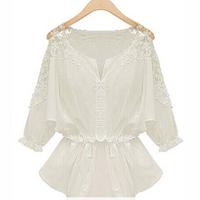 New 2014 White Lace Blouse Chiffon Causal Camisas Femininas Crochet Blusa Renda O-neck Slim Waist Summer Autumn Tops