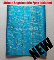 2014 African SEGO headtie,Gele&Ipele,Head Tie & Wrapper,2pcs/set,wholesale and ratail,Nigeria wedding accessory