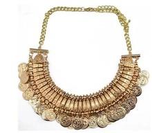 Retro vintage  antique jewelry coin  necklace   tribal egypt  gypsy  steampunk  statement gargantilha maxi  colar /collier femme